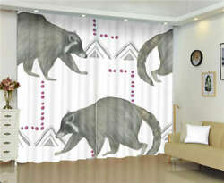 Fairy Tale Big Mouth Grey Bear Printing 3d Blockout Curtains Fabric Window