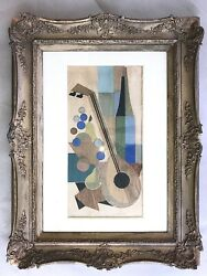 After Man Ray Signed Mid Century Cubist Still Life W Mandolin And Pears Collage