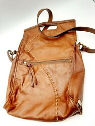 Lucky Brand Abbey Road Slouch Fold Over Brown very soft Leather Purse handbag $29.99