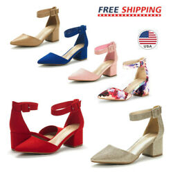 Women's Ankle Strap Pump Shoes Low Chunky Heel Pointed Toe Pump Dress Shoes  $21.59