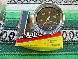 Nos Autometer Auto Gage Oil Pressure Gauge Black And White 2 5/8 Hot Rat Rod Race