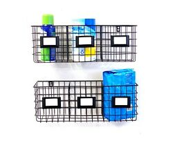Triple Wall Storage Organizer with Wall Baskets Set of 2 by Handcrafted 4 Home