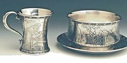 And Co.sterling Silver Baby Cup, Porringer And Plate Set, Nursery Rhyme