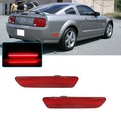 Red Lens Led Rear Bumper Side Markers Lamps Lights For 2005-2009 Ford Mustang