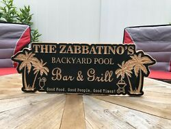 Backyard Pool Sign |engraved Bar And Grill Sign | Personalized Outdoor Sign |