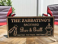 Backyard Sign | Wood Engraved Bar And Grill Sign | Personalized Outdoor Sign