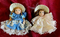 Vintage BISQUE jointed miniature 3quot; DOLLS