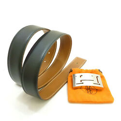 Authentic Hermes H Buckle Reversible Belt 85 Leather 32mm I In Square S407051