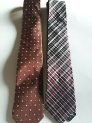 Burma And Bibas 100 Silk Classic Neck Ties 2 One Plaid One Floral