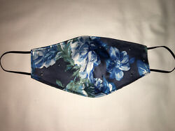 Face Mask Flowers Navy Rhinestones Protective gorgeous bling comfortable $11.99