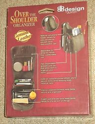 NEW Design by Buxton Over The Shoulder Genuine Leather Black Organizer $21.98