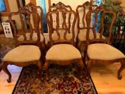 Set Of 6 French Carved Ethan Allen Tuscany Pretzel Back Dining Room Side Chairs