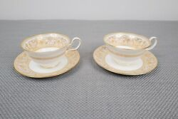Wedgwood Gold Florentine W4219 Pair Of Cup And Saucers Peony Free Shipping