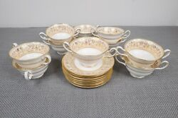 Wedgwood Gold Florentine W4219 10 Cream Soup Bowls And 8 Saucers Free Shipping