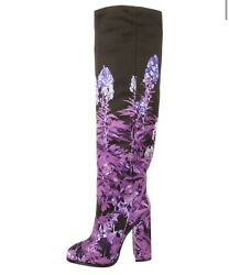 1160 New Dries Van Noten Black And Purple Floral Over The Knee Boots Sz 6 36