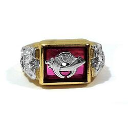 Gothic Solid 14k Yellow And White Gold And Synthetic Ruby Shriners Ring Size 10