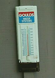 Old Vintage Advertising Tin Thermometer Goulds Water Systems Wall Mount
