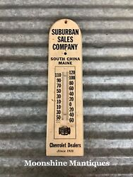 1950's Suburban Sales Company Chevrolet Dealership Thermometer / Sign - Maine