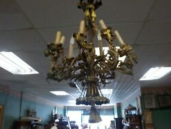 Antique 19th Cent 9 Arm French Bronze Chandelier From Nesle Nyc