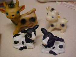 Cow S And P Shakerssalt And Pepper+vintage Figures-japanelsiedairy Andmilk Lot Of 4