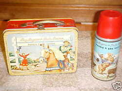 Roy Rogers Double R Bar Ranch Metal Lunch Box And Thermosred Bandvintage 1954