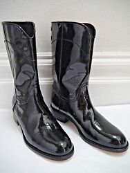 New Black Patent Leather Stitched Logo Detail Boots Euro Size 38