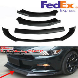 For Ford Mustang 15-17 Front Bumper Lip Spoiler Body Kits Glossy Black Usa Ship