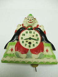 B776 Vintage 1930s Lux Company Animated Clown And Seals Pendulette Wind Up Clock