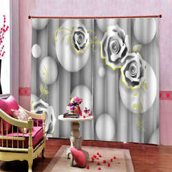 White Bulb Yellow Lace Background Printing 3d Blockout Curtains Fabric Window