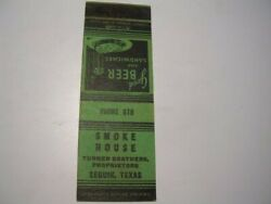 Smoke House Turner Brothers Props Phone 678 Seguin Texas Matchcover Tx