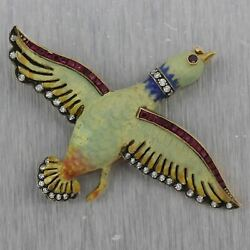 1890's Antique Victorian 18k Yellow Gold And Sterling Silver Enamel And Diamond Bird