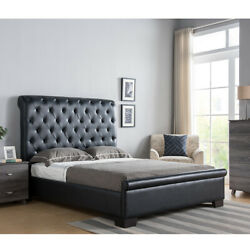 1pc Contemporary Black Tufted Fabric Headboard/footboard Full Size Platform Bed