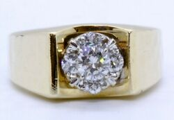 Fine Jewelers Guild 14k Solid Yellow Gold Round Diamond Hammered Ring Size 8.5