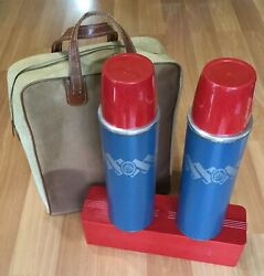 Old Vtg Keapsit Vacuum Bottle Polly Red Top 24-f Thermos Carry Case Picnic Set