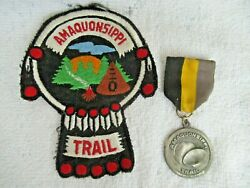 Boy Scouts Illinois Amaquonsippi Trail Patch And Separate Metal Arts Medal
