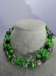 Czech Bicolor Opalescent Green Glass Bead Double Strand Necklace Ornate Clasp