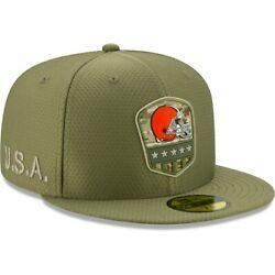 Official 2019 Cleveland Browns New Era Nfl Salute Service 59fifty Fitted Hat