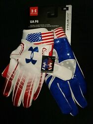 Under Armour Red White And Blue Usa Limited Edition Football Glue Grip Gloves 2xl