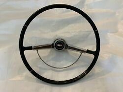 1965-1966 Caprice Steering Wheel Woodgrain Horn Ring Chrome Button And Emblem