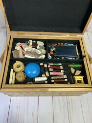 Sewing Box Basket Thread Spools Needles Buttons Antique Vintage Big Lot