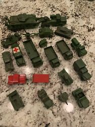 Dinky Toys Military Trucks, Tanks And Red Police Car, As Is