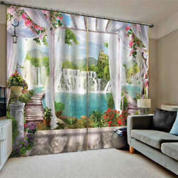 Fence Straddles Blue Lake Steps Printing 3d Blockout Curtains Fabric Window