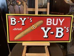 28 B-yand039s And Y-band039s Tin Cigar Advertising Sign Watch Video