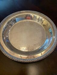 Poole Silver Epc Heavy Footed Round Engraved Serving Tray 1005andnbsp Needs Cleaning
