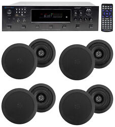 6000w 6 Zone, Home Theater Bluetooth Receiver+8 5.25 Black Ceiling Speakers