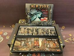 New York City Skyline Times Square Statue Of Liberty Souvenir Magnet Lot Of 3