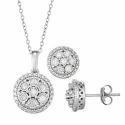 Sterling Silver 1/2 Carat T.w. Diamond Pendant And Stud Earring Set