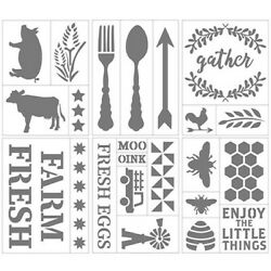Darice Country Living Farmhouse Themed Self Adhesive Stencils 6quot; x 8quot; Bee Egg $7.25