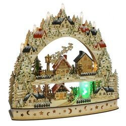 Midwest Cbk Ganz H0 Christmas Plywood 17in Lighted Led Santa Village 165704