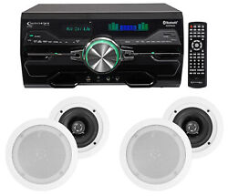Dv4000 4000w Bluetooth Home Theater Dvd Receiver+4 5.25 White Ceiling Speakers